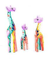 Статуэтки деревянные Жирафы набор 3 штуки