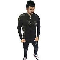 Спортивный костюм  в стиле Philipp Plein (черный, череп)