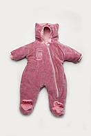 Велюровый комбинезон утепленный KItty для девочки с рождения до 9-10 месяцев размер 62, 68, 74