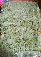 Покрывало-плед меховое с длинным ворсом оливкового цвета