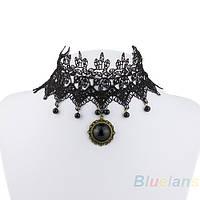 Ожерелье,  Чокер на шею карнавальное, ажурное с камушками