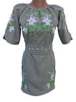 """Женское вышитое платье """"Нежные лилии"""" PN-0053"""