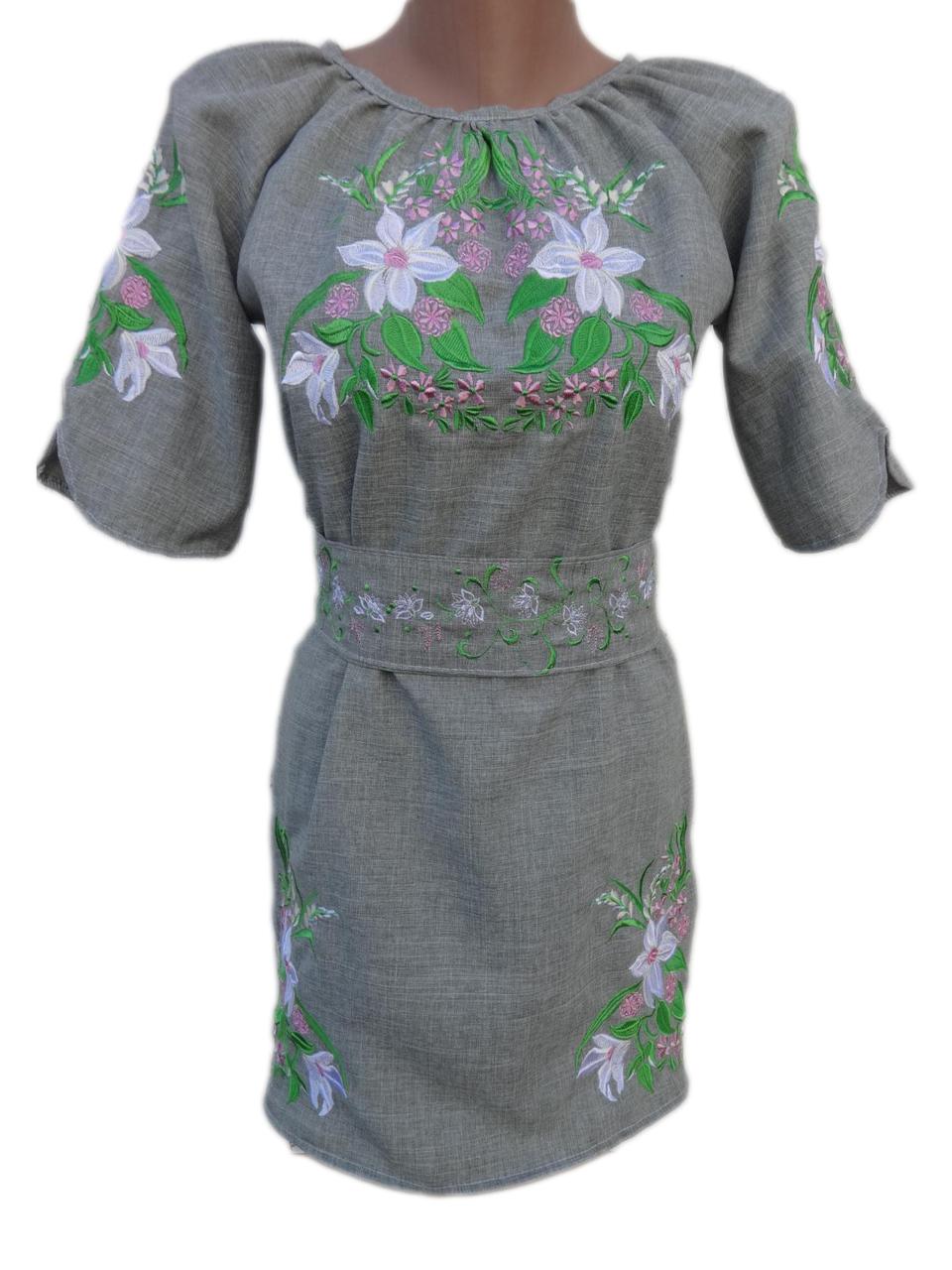 "Жіноче вишите плаття ""Ніжні лілії"" (Женское вышитое платье ""Нежные лилии"") PN-0053"