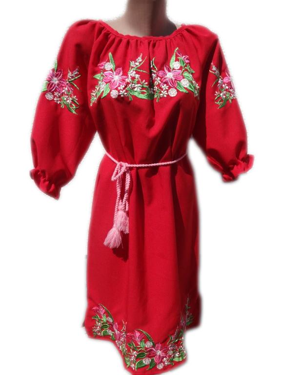 "Жіноче вишите плаття ""Чарівні лілії"" (Женское вышитое платье ""Волшебные лилии"") PN-0055"