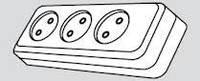 Фурнитура. Электроустановочные изделия. колодка бытовая  3-х местная (2Р) КП-03