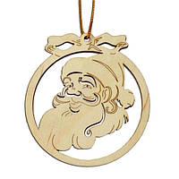 """Деревянный магнит - подвеска """"Игрушка на елку с бантиком: Дед Мороз с бородой"""""""