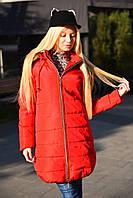 Супер теплое женское зимнее  стеганное пальто - пуховик цвет красный