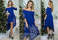 Стильное  платье со звездочками, цвет электрик. Арт-8967/65