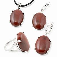 Яшма красная, серебро 925, кольцо, кулон и серьги комплект, 019КМЯ