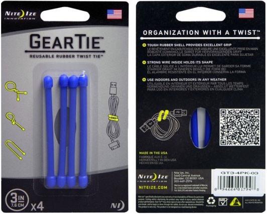 """Gear Tie 3"""" (7,6см) синий Nite Ize GT3-4PK-03"""
