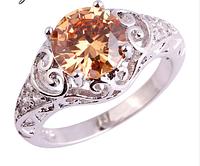 Женское кольцо с морганитом и белым топазом 17р