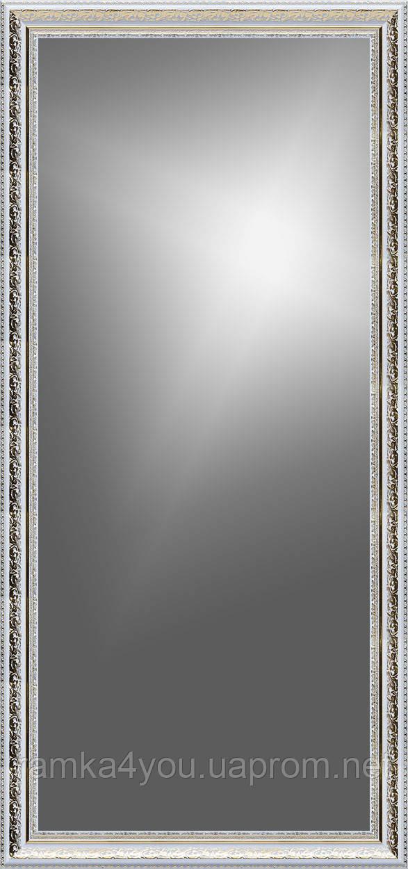 Рамка для зеркала 50х120 см белая с золотым рисунком