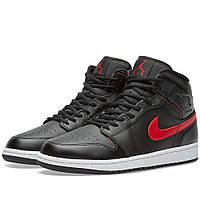 Оригинальные  кроссовки Nike Air Jordan 1 Mid Black, Team Red & White