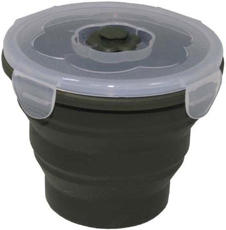 Ланчбокс 660мл круглый складной тёмно-зелёный MFH 33415