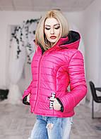 Зимняя теплая  куртка на синтепоне с капюшоном малиновая