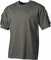 Тактическая футболка (L) спецназа США, тёмно-зелёная, с карманами на рукавах, х/б MFH 00121B