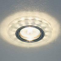 Декоративный светодиодный светильник Feron 8686-2  серебро  с LED подсветкой