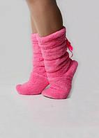 Яркие махровые сапожки розового цвета 1070