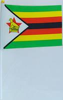Флажок Зимбабве 13x20см на пластиковом флагштоке