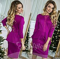Красивое фиолетовое  платье со вставками гипюра.  Арт-8970/65