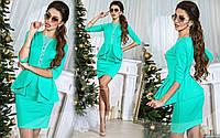 Красивое мятное  платье со вставками гипюра.  Арт-8970/65