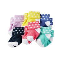 Комплект махровых носочков для девочки Carters Горошки, Размер 0-3, Размер 0-3