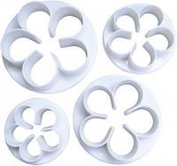 Набор вырубок для мастики цветочек 4 шт