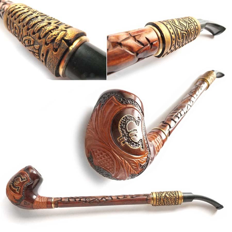Трубка курительная Гусар с кожей золотой