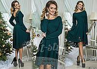 Стильное  зеленое  платье с перфорацией.  Арт-8971/65