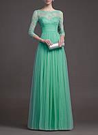 SH-15091-4 Зеленое Макси Платье с Рукавами 3/4 на Свадьбу, Выпускной