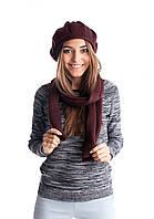 Модный вязаный женский комплект из берета и шарфа