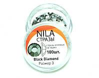 Nila стрази Black Diamond, розмір 3, 100 шт., фото 1