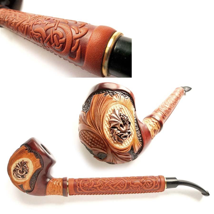 Курительная трубка Гусарская,резьба по дереву