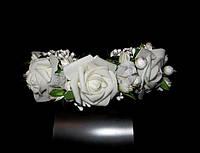 Обруч веночек ручной работы белые розы