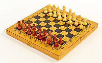 Шахматы, шашки, нарды 3 в 1 Бамбук 30 х 30 см