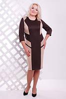 Трикотажное женское платье батал Флора шоколад  Lenida     52-62 размеры