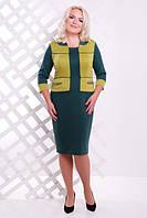 Женское трикотажное платье батал Шанти бутылка+оливка  Lenida     52-62 размеры