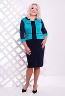 Женское трикотажное платье батал Шанти синий+бирюза  Lenida     52-62 размеры