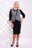 Женское черно-белое платье большого размера Вермут  Lenida  50-60 размеры