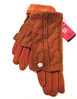 Женские перчатки вязка (митенки), терракотового цвета