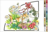 """Схема для вышивки нитками """"Котята. Времена года-лето"""""""
