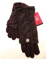 Женские перчатки вязка (митенки), коричневого цвета