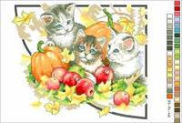 """Схема для вышивки нитками """"Котята. Времена года-осень"""""""