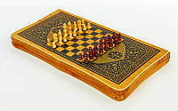 Шахматы, шашки, нарды 2 в 1 Баку Zelart 49 х 49 см