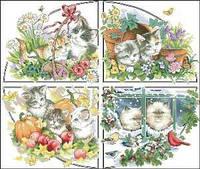 """Схема для вышивки нитками """"Котята. Времена года-весна"""""""
