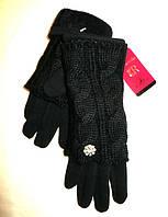 Женские перчатки вязка (митенки), черные