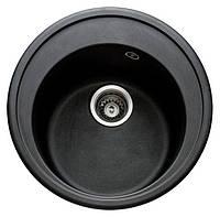 Мойка гранитная 51 см диаметр черная круглая глубина 18 см неликвид №10