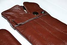 Коричневые женские кожаные перчатки Большие, фото 2