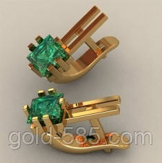 Стильные золотые серьги 585  пробы с квадратными вставками, цена 3 ... a22a60f9121