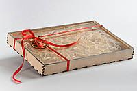 Коробка для пряников 300х200х30 с прозрачной крышкой